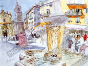プロヴァンス風景絵画(Nice ニース, 旧市街ロセッティ広場と噴水)PT_MRT_17
