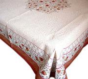 正方形テーブルクロス:トップクロスジャガード織り150×150cmサイズ【フランス】(AUBRON・ナチュラル×ボルドーオレンジ)NAP_C50