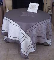 正方形テーブルクロス:トップクロスジャガード織りテフロン撥水加工160×160cmサイズ(モンミライユ・トープ)【フランス】 NAP_C54::他サイズお取り寄せ可能