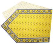 6角形フレームテーブルランナー45×150cmサイズ(ミレイユメダイユ・イエロー)CHM_P35 【フランス】