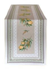 ジャガード織テーブルランナー50×170cmサイズ( Menton マントン・イエロー×グリーン) ミモザ&レモン柄CHM_47 【フランス】