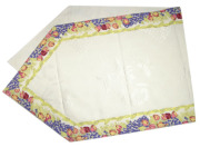 6角形フレームテーブルランナー45×150cmサイズ(ローズ&ラベンダー・オフホワイト) CHM_52 【フランス】