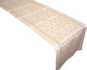 先染めジャカードフラックスリネン麻テーブルランナー50×150cmサイズ(BERLIOZ・ナチュラル)CHM_LIN_01 【フランス】