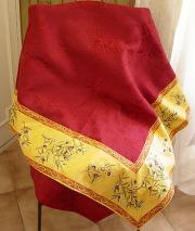 ジャガード織りプリント柄フレームマルチカバー、フレームクロス正方形、長方形全6サイズ(オリーブ2005・イエロー×ボルドー)CVR_14【オーダーメイドも】