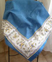 ジャガード織りプリント柄フレームマルチカバー、フレームクロス正方形、長方形全6サイズ(ムスティエ・ホワイト×ブルー)CVR_15【オーダーメイドも】