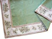正方形テーブルクロス:トップクロスジャガード織り&プロヴァンス生地フレームクロス140×140cmサイズ(オリーブ2005・オフホワイト×ミントグリーン)【フランス】NAP_C64::他サイズお取り寄せ可能