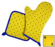キッチングローブ*ミトン&正方形鍋つかみセット(カリソン・イエロー×ブルー)GAN_S19