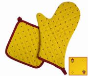 キッチングローブ*ミトン&正方形鍋つかみセット(カリソン・イエロー×レッド)GAN_S20