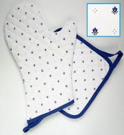 キッチングローブ*ミトン&正方形鍋つかみセット(カリソン・ホワイト×ブルー)GAN_S31