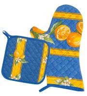 キッチングローブ*ミトン&正方形鍋つかみセット(レモン&小花柄・ブルー)GAN_S45