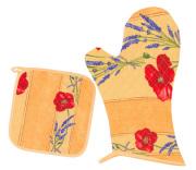 キッチングローブ*ミトン&正方形鍋つかみセット(コクリコ&ラベンダー・イエロー)GAN_S48