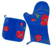 キッチングローブ*ミトン&正方形鍋つかみセット(コクリコ&ラベンダー・ブルー)GAN_S49