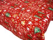 クリスマスプリントテーブルクロス撥水加工(Laponie ラップランド・レッド) 全4サイズ 【フランス】 NAP_25_346e