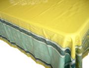 プロヴァンステーブルクロスジャガード織りテフロン撥水加工(Ramatuelle ラマチュエル・グリーンイエロー×ブルー)160×250cmサイズ【フランス】 NAP_25_350e