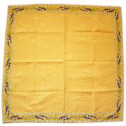 正方形テーブルクロス:トップクロスジャガード織り&プロヴァンス生地フレームクロス80×80cmサイズ【フランス】(ラベンダー2007・イエロー)NAP_C1_11::他サイズお取り寄せ可能