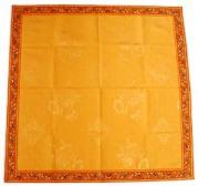 正方形テーブルクロス:トップクロスジャガード織り&プロヴァンス生地フレームクロス100×100cmサイズ【フランス】(オリーブ2005・テラコッタオレンジ×イエロー)NAP_C1_13::他サイズお取り寄せ可能