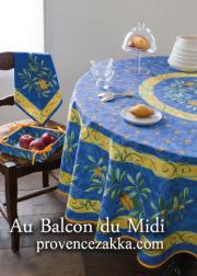 ラウンド・円形テーブルクロス撥水加工丸テーブル円卓用直径180cmサイズ(セミ・ブルー)【フランス】NAP_R52e