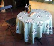 ラウンド・円形テーブルクロス撥水加工丸テーブル円卓用直径170cmサイズ(オリーブレボー・ミントグリーン)【フランス】NAP_R147e