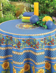 ラウンド・円形テーブルクロス撥水加工丸テーブル円卓用直径160cmサイズ(ヴァロリス・コバルトブルー)【フランス】NAP_R174e