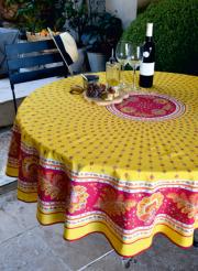 ラウンド・円形テーブルクロス撥水加工丸テーブル円卓用直径180cmサイズ (ミラボー・イエロー×レッド)【フランス】NAP_R243e