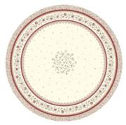 ラウンド・円形テーブルクロス撥水加工丸テーブル円卓用直径180cmサイズ (Beaucaire ボーケール・オフホワイト×レッド)【フランス】NAP_R250e