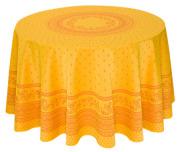 ラウンド・円形テーブルクロス丸テーブル円卓用ジャガード織りテフロン撥水加工直径230cmサイズ【リバーシブル】Marat d'Avignon マラダヴィニョン(デュランス・イエロー)【フランス】 NAP_R258e