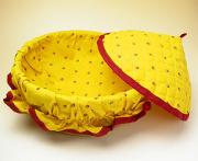 フタ付きブレッドバスケット、パンかご(カリソン・イエロー×レッド)PAN_C17