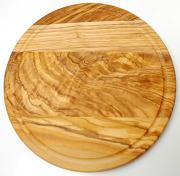 肉用溝つきオリーブの木のまな板、円形ラウンド丸いまな板カッティングボード直径25cmサイズ【イタリア製】オリーブウッド木製PLC_VD02