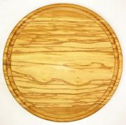 肉用溝つきオリーブの木のまな板、円形ラウンド丸いまな板カッティングボード直径25cmサイズ【無垢一枚板イタリア製】オリーブウッド木製PLC_VD06
