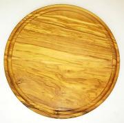 肉用溝つきオリーブの木のまな板、円形ラウンド丸いまな板カッティングボード直径25cmサイズ【無垢一枚板イタリア製】オリーブウッド木製PLC_VD08