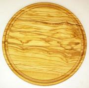 肉用溝つきオリーブの木のまな板、円形ラウンド丸いまな板カッティングボード直径25cmサイズ【無垢一枚板イタリア製】オリーブウッド木製PLC_VD10