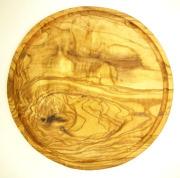 肉用溝つきオリーブの木のまな板、円形ラウンド丸いまな板カッティングボード直径24cmサイズ【無垢一枚板イタリア製】オリーブウッド木製PLC_VD12