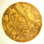 肉用溝つきオリーブの木のまな板、円形ラウンド丸いまな板カッティングボード直径24cmサイズ【無垢一枚板イタリア製】オリーブウッド木製PLC_VD14