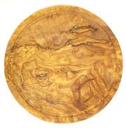 肉用溝つきオリーブの木のまな板、円形ラウンド丸いまな板カッティングボード直径30cmサイズ【無垢一枚板イタリア製】オリーブウッド木製PLC_VD_G01