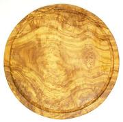 肉用溝つきオリーブの木のまな板、円形ラウンド丸いまな板カッティングボード直径30cmサイズ【無垢一枚板イタリア製】オリーブウッド木製PLC_VD_G03