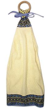 木製リングハンドタオル(ルールマラン・ホワイト×ブルー)SER_10