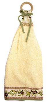 木製リングハンドタオル(オリーブ2005・ホワイト×ベージュ)SER_27