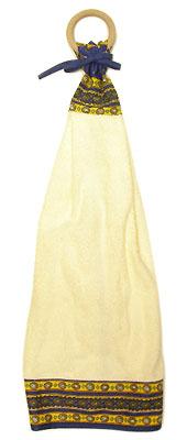 木製リングハンドタオル(ルールマラン・ブルー×イエロー)SER_30