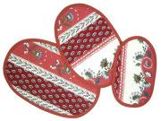 プロヴァンスキルティングランチョンマット:オーバル型3枚セット(花柄&小紋・ボルドー) SET_TP_OVL3 【フランス】
