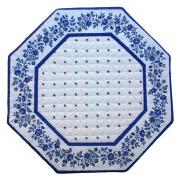 8角形オクトゴナルフレームテーブルマット38×38cmサイズ(カリソン&小花・ホワイト×ブルー) 【フランス】TP_OCT16::他サイズお取り寄せ可能