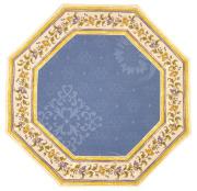 8角形オクトゴナルジャガードフレームテーブルマット38×38cmサイズ(ムスティエ花柄・ブルー)【フランス】TP_OCT27::サイズオーダー可能