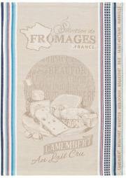 ジャガード織キッチンクロス、ディッシュクロス、ふきん、トーション【フランス】(Camembert カマンベール)TOR_45