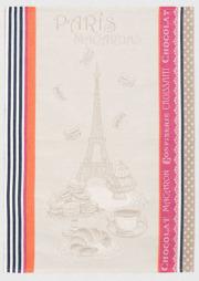 ジャガード織キッチンクロス、ディッシュクロス、ふきん、トーション【フランス】(Macarons マカロン)TOR_48