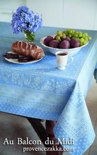 プロヴァンステーブルクロスジャガード織りテフロン撥水加工 Marat d'Avignon マラダヴィニョン(デュランス・アジュールブルー)全5サイズ【フランス】 NAP_25_303e