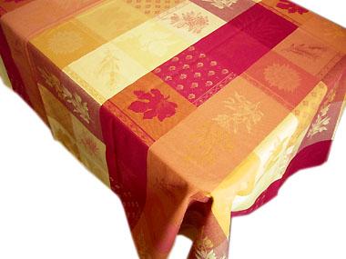 正方形テーブルクロス:トップクロス180×180cmサイズジャガード織りテフロン撥水加工(オリーブルールマランパッチワーク・イエロー×レッド)【フランス】 NAP_C66::他サイズお取り寄せ可能