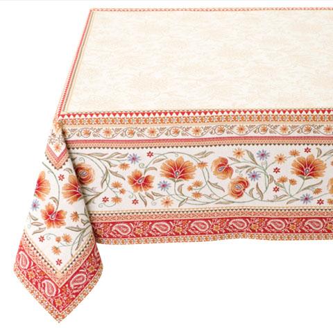 テーブルクロス:マルチカバージャガード織り(SILLANS シヤン 花柄・全2色)全2サイズ【フランス】NAP_C86