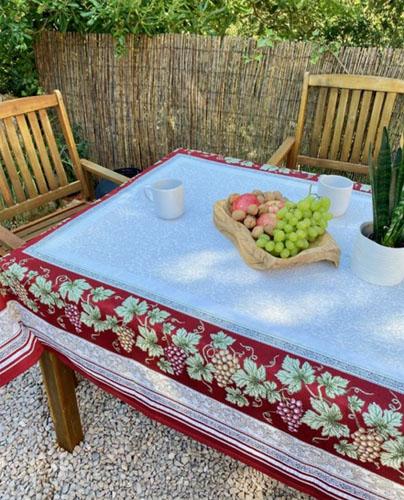 テーブルクロス:マルチカバージャガード織り(Vendange ヴァンダンジュ)ブドウ柄 全3サイズ【フランス】NAP_C89