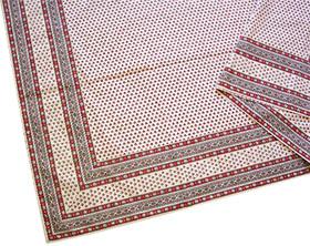 正方形テーブルクロス:フレームクロス:トップクロス150×150cmサイズ【フランス】(ルールマラン・ベージュ×ボルドー)NAP_C18