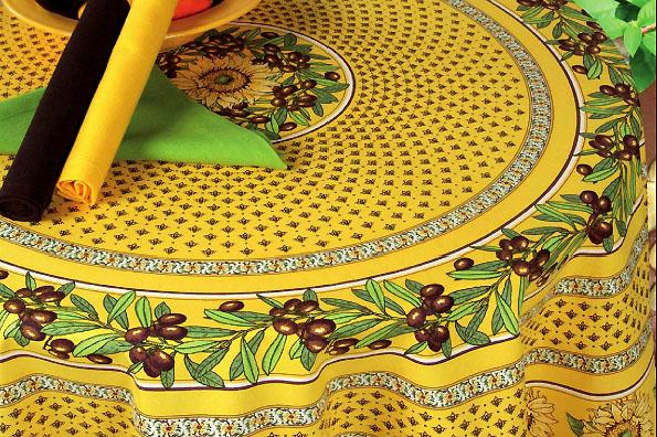 ラウンド・円形テーブルクロス撥水加工丸テーブル円卓用直径160cmサイズ(ヴァロリス・イエロー)【フランス】NAP_R175e