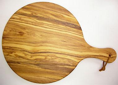 ピザ用オリーブの木のまな板円形、丸、ラウンドオリーブウッドカッティングボード Dモデル【イタリア製】 PLC_D36